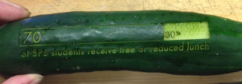 """70% of Somerville Public School students receive free or reduced lunch"" - laser-cut onto a cucumber"